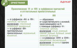 Пишется нн а. Тема: Правописание Н и НН в разных частях речи