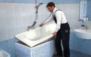 Монтирование вкладыша в ванную
