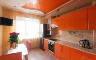 Оранжевая кухня какие шторы подойдут