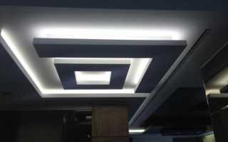 Обустройство подвесного потолка из гипсокартона с подсветкой