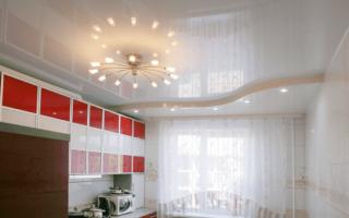 Как вымыть натяжной потолок на кухне